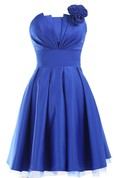 Strapless Appliqued Ruched Bodice Short Pleated Satin Dress