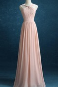Strapped Chiffon&Satin Dress With Pleats