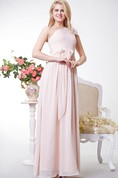 Greek Style One Shoulder Chiffon Long Dress With Bows