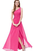 One-shoulder Ruched Chiffon Dress With Side Slit