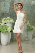 Stylish Asymmetrical One-Shoulder Classic Gown With Flowers