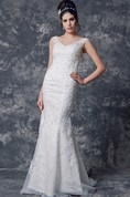 Luxurious Short Sleeve Low-v Neck Mermaid Organza Dress With Lace Applique