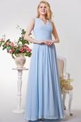 Sleeveless A-line Long Chiffon Dress With Pleats