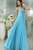 Chiffon Sleeveless A-Line Pleated Dress With Beaded Bodice