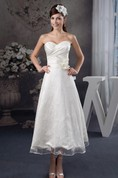 Sweetheart Tea-Length Criss-Cross Dress with Appliques and Flower