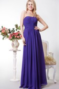 Open Back Chiffon A-line Long Dress With Pleats