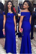 Elegant Royal Blur Mermaid 2016 Prom Dress Off the Shoulder Floor Length Party Gown