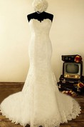 Sweetheart Mermaid Long Lace Wedding Dress With Flower And Button Back