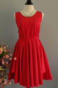 Red Backless Dress With Low-V Back