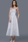 Glamour Tea-length Organza Gown With Floral Sash