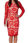 Long-sleeved Knee-length Illusion Lace Dress
