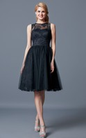 Illusion Neck Lace Knee Length Bridesmaid Dress