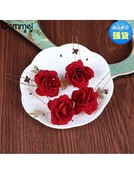 Bride'S Headdress Red Rose U-Clamp Pin Wedding Red Dresses Wedding Dresses Accessories