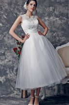 Vintage Style Tea-length Bridal Dress with Scoop Illusion Neckline