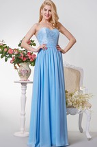 Backless A-line Long Chiffon and Lace Dress With Bow