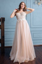 Illusion Long Sleeve Lace Appliqued Tulle A-Line Wedding Dress
