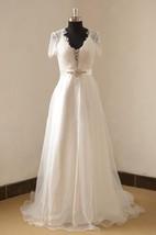 V-Neck Organza Long A-Line Wedding Dress With Beading Sash