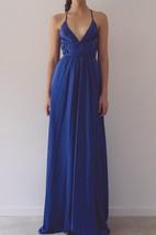 Royal Blue Spaghetti Strap V Neck Backless Dress
