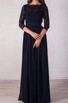 Long Evening Navy Blue Lace Formal Dress