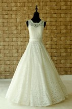 Lace Wedding Sheer Neckline With Waistband Floor Length Garden Dress