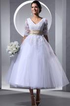 Glam Tea-Length Half-Sleeve Dress With Soft Tulle