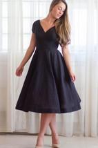 Casual V-neck Tea-length Short Sleeve Dress