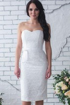 Sweetheart Short Sheath Lace Wedding Dress With Satin Belt