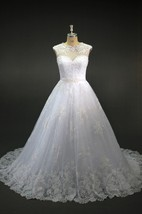 Jewel Neck Cap Sleeve A-Line Lace Wedding Dress With Sheer Back