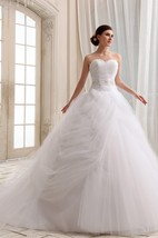 A-Line Sweetheart Sleeveless Ball Gown With Court Train And Soft Tulle