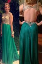 Floor-length Chiffon Sleeveless Beading Backless Dress