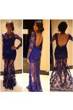 Mermaid Scoop Long Sleeve Lace Illusion Dress