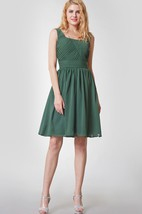 Vintage Sleeveless Short Chiffon Dress With Ruching
