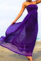 Purple Chiffon Strapless Beach Long Dress