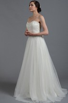 Alencon Lace Bodice Long Wedding Dress With Tulle Skirt.