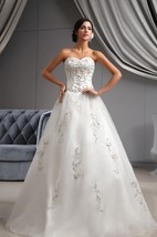 Glam Organza A-Line Style Dress With Embroidered Bodice