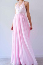 Beautiful Baby Pink Halter Neck Gown Dress
