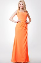 Side-draped Mermaid Chiffon Gown With Back Knot and Removable Straps