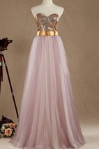 Maxi Strapped Sweetheart Tulle&Satin Dress With Sequins