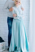 Blue Wedding Blue Witn Sleeves Blue Gown Wedding Gown Blue Sleeves Mint Mint Wedding Dress
