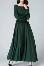 Linen Handmade Bishop Sleeve Long Sleeve Boat Neck Dark Green Maxi Long Women Custom 1454 Dress