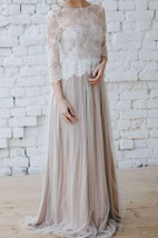 Tulle Floor-Length Pleated Dress With Illusion Lace Top
