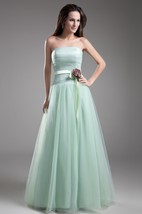 Strapless Chiffon A-Line Gown with Pleats and Flower