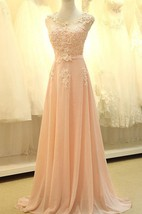 A-line Long Sleeveless Chiffon Dress with Lace Appliques