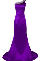 One-shoulder Long Satin Dress With Beaded Neckline