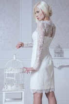 High-Neck Short Sheath Lace Dress With Long Sleeves