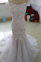 Off-Shoulder Mermaid Lace and Organza Wedding Dress With Court Train