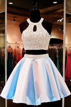 Sexy Halter Two Piece Short Homecoming Dress 2016 Beadings Sleeveless