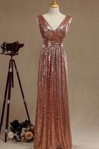 Rose Gold V Neck Back Bridesmaid Dress Luxury Full Length