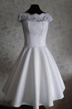 1950S Vintage Bateau Neck Cap Sleeve Tea-Length Satin Wedding Dress