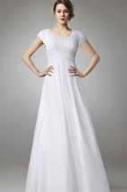 Short Sleeve Empire Chiffon Wedding Dress